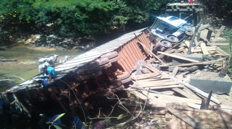 Ponte desaba e carreta que transportava gado cai em rio
